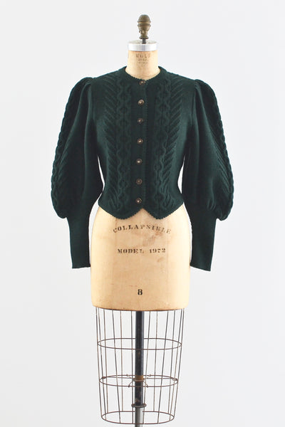 1890s Style Green Wool Cardigan - Pickled Vintage