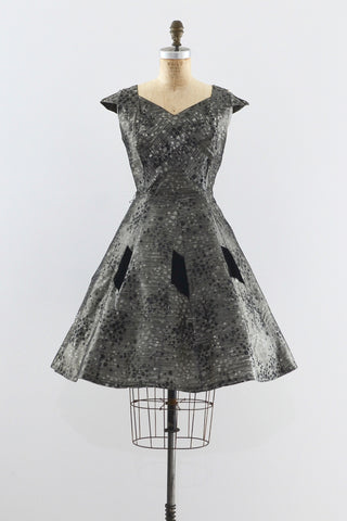 Vintage 1950s Gray Silk Dress - Pickled Vintage
