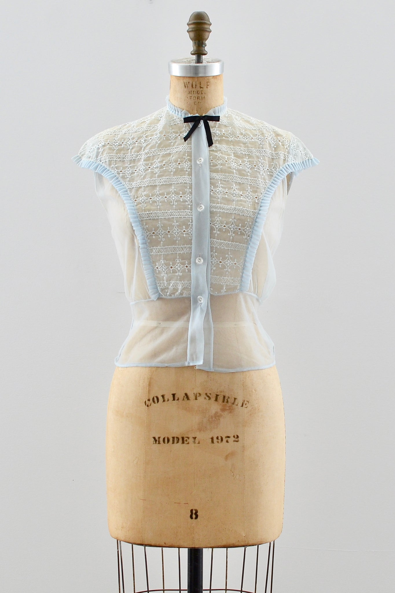 1950s Embroidered Nylon Top - Pickled Vintage