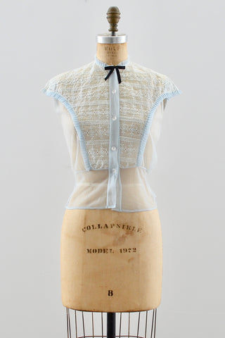 1950s Embroidered Nylon Top