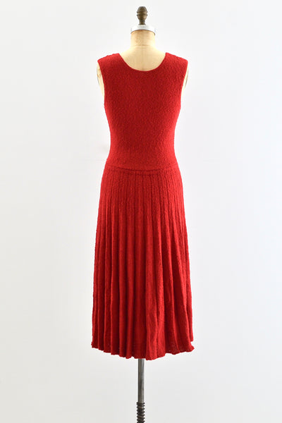 1950s Red Boucle Knit Dress - Pickled Vintage