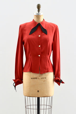 1940s Tomato Red Top - Pickled Vintage