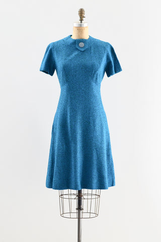 1950s Blue Tweed Dress - Pickled Vintage