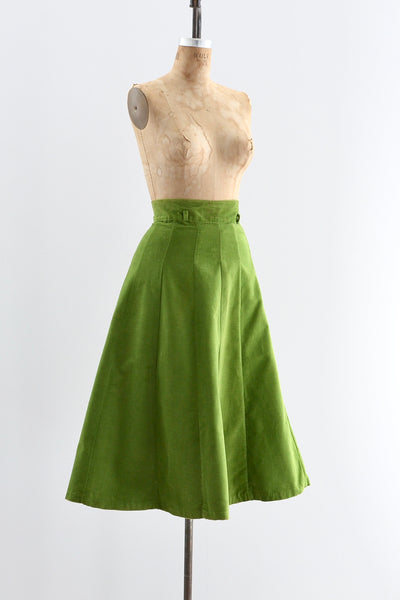 1950s Green Corduroy Skirt