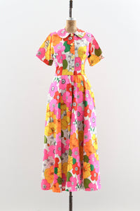 1960s Ultra Wide Leg Floral Jumpsuit