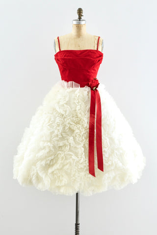1950s Ruffled Cupcake Dress