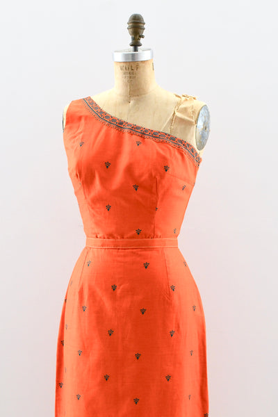 One-Shoulder Fleur De Lis Dress - Pickled Vintage