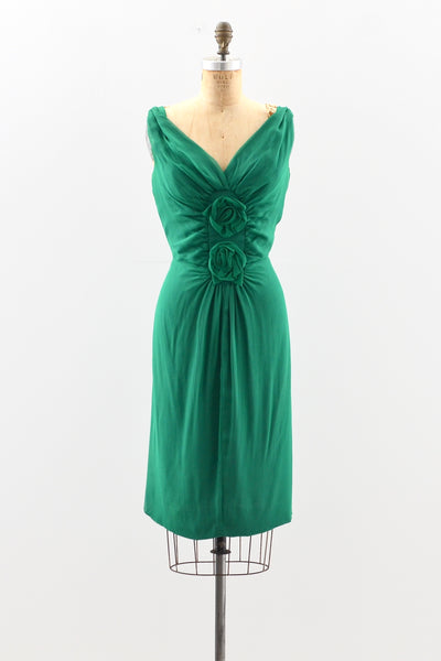 1950s Emerald Green Dress - Pickled Vintage