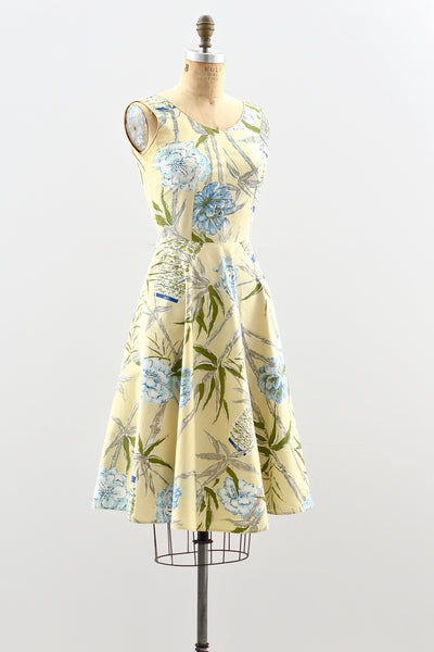 1950s Camellia Print Dress - Pickled Vintage