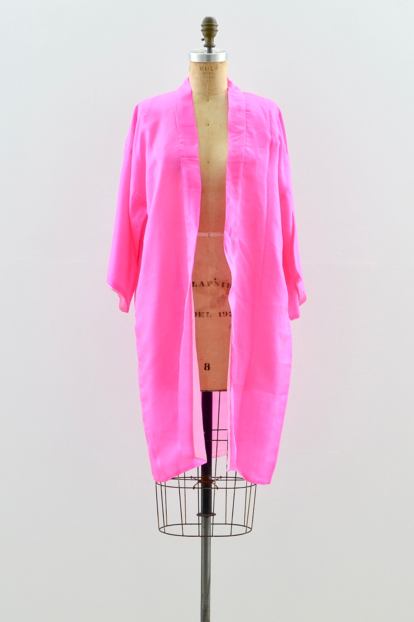 1940s Hot Pink Embroidered Kimono - Pickled Vintage