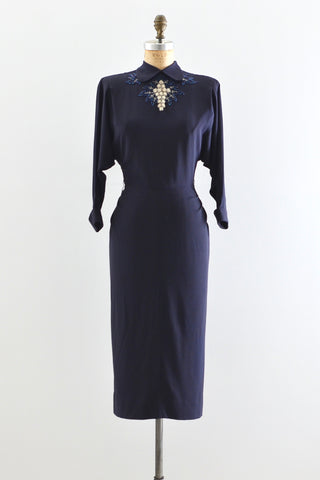 1940s Navy Blue Dress - Pickled Vintage