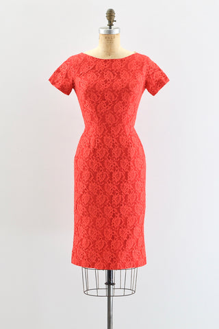 1950s Red Lace Dress