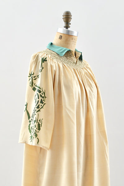 1920s Silk Pongee Smock Dress - Pickled Vintage