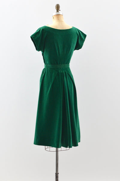1950s Emerald Velvet Dress - Pickled Vintage