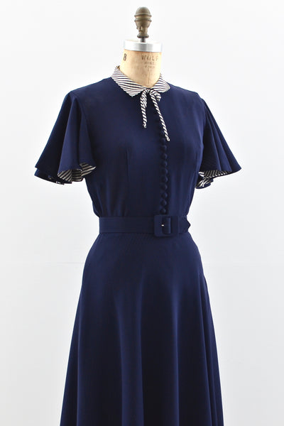 1940s Flutter Sleeve Rayon Dress - Pickled Vintage