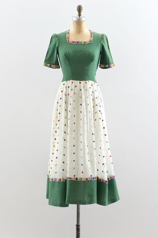 1940s Folk Dress - Pickled Vintage