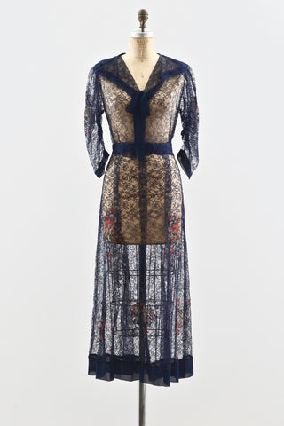 1930s Floral Appliqué Dress
