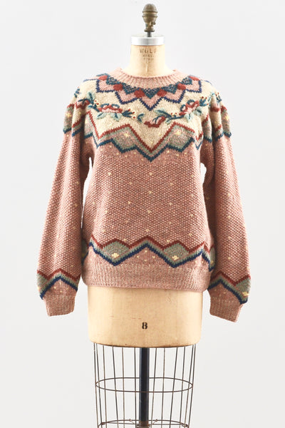 Dusty Rose Handknit Sweater - Pickled Vintage