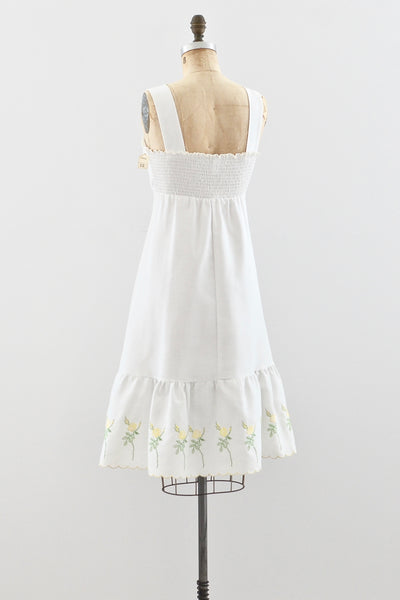 Embroidered Day Dress - Pickled Vintage