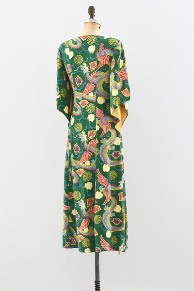 Rare 1940s Kamehameha Dragon Dress - Pickled Vintage