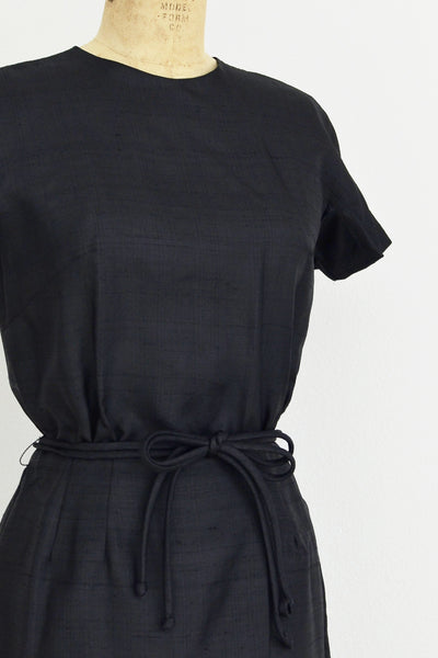 1950s Silk Black Dress - Pickled Vintage