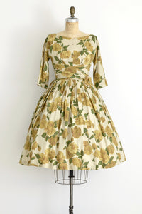 1950s Yellow Rose Dress - Pickled Vintage