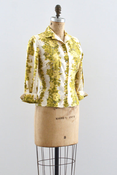 50s Floral Stripe Top