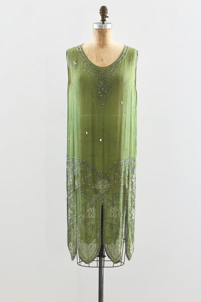 1920s Green Beaded Dress