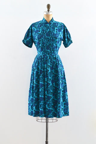 Blue Rose Shirtwaist Dress