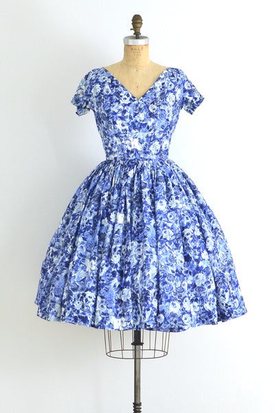 Blue Rose Dress - Pickled Vintage