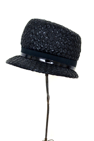 Black Straw Hat - Pickled Vintage