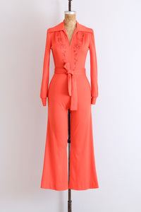 70s Fiery Red Jumpsuit - Pickled Vintage