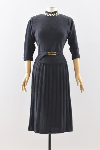 40s Charcoal Blue Knit Set
