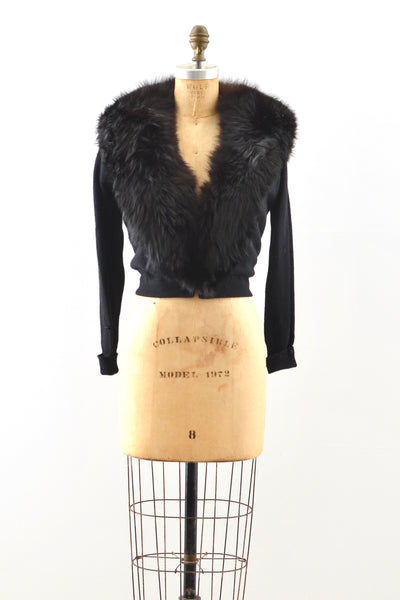 Fur Collar Cardigan