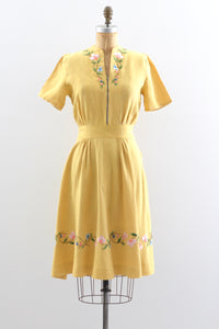 40s Yellow Embroidered Dress
