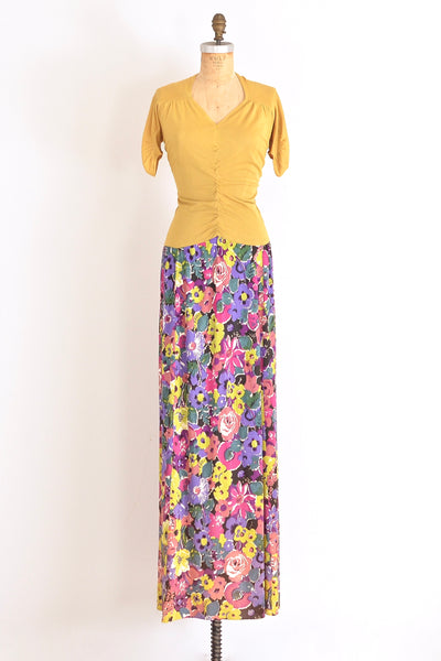 40s Rayon Jersey Maxi Dress - Pickled Vintage