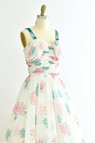 1950s Floral Chiffon Dress - Pickled Vintage