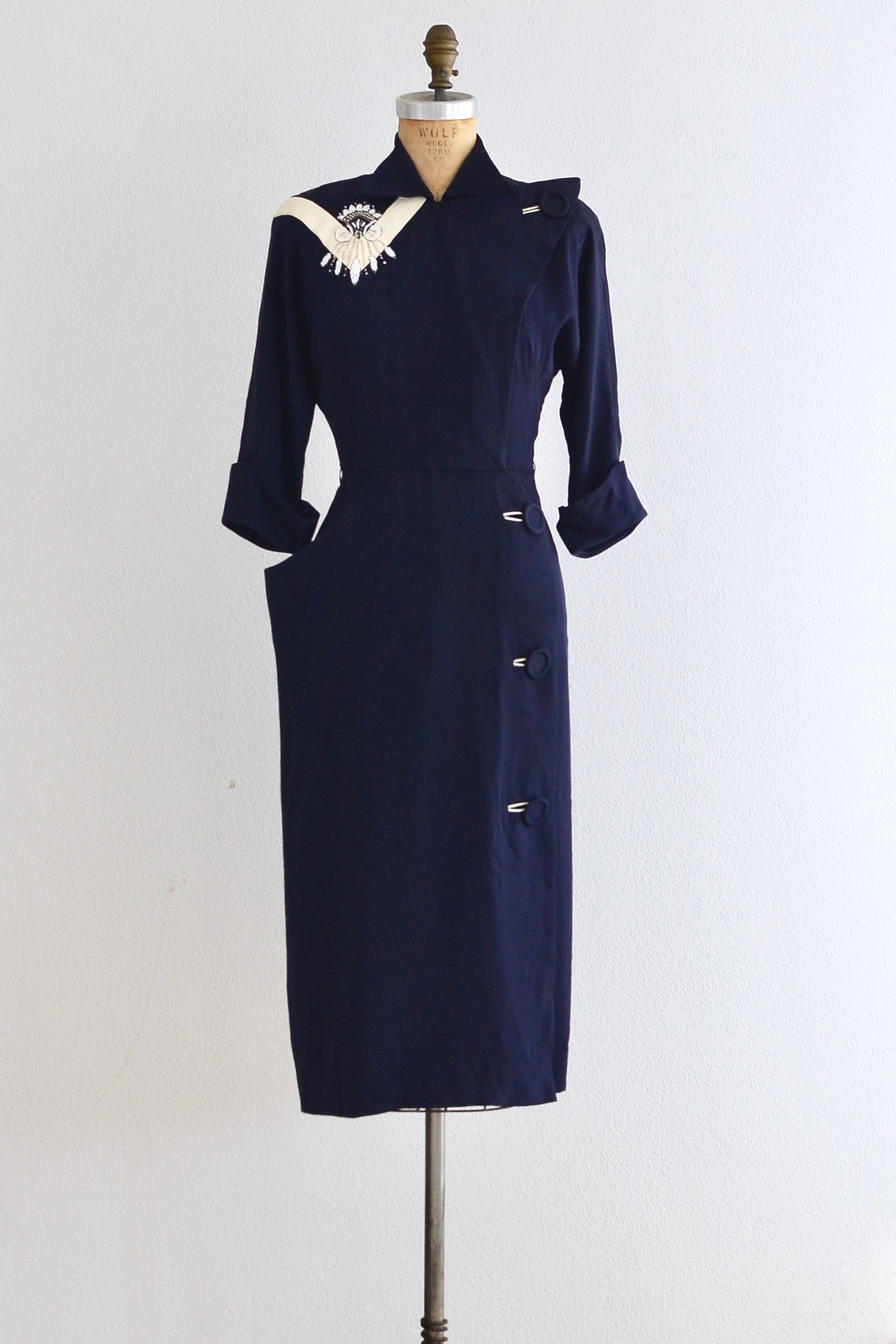 40s Navy Blue Dress - Pickled Vintage