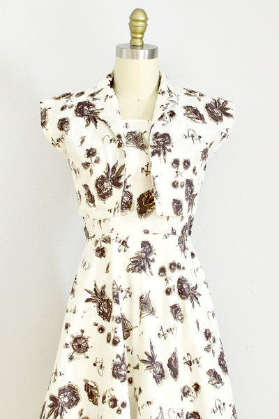 1940s Pineapple Print Dress Set - Pickled Vintage