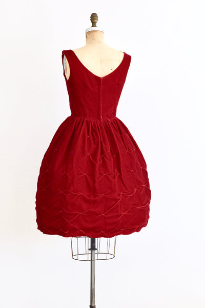 1950s Red Velvet Dress - Pickled Vintage