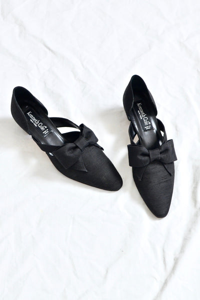 Block-Heel Silk Shoes - Pickled Vintage
