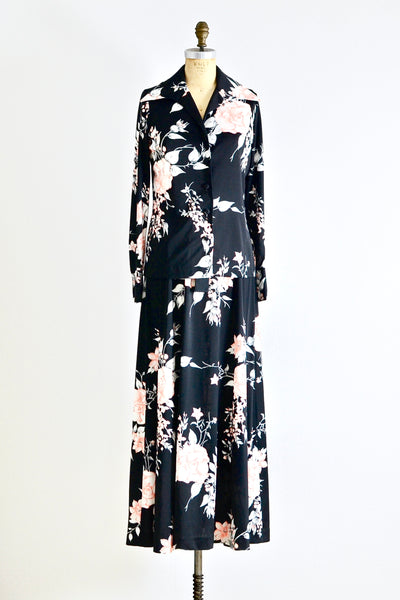 Black Floral Dress - Pickled Vintage