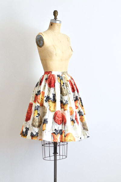 Hot Air Balloon Dog Print Skirt - Pickled Vintage
