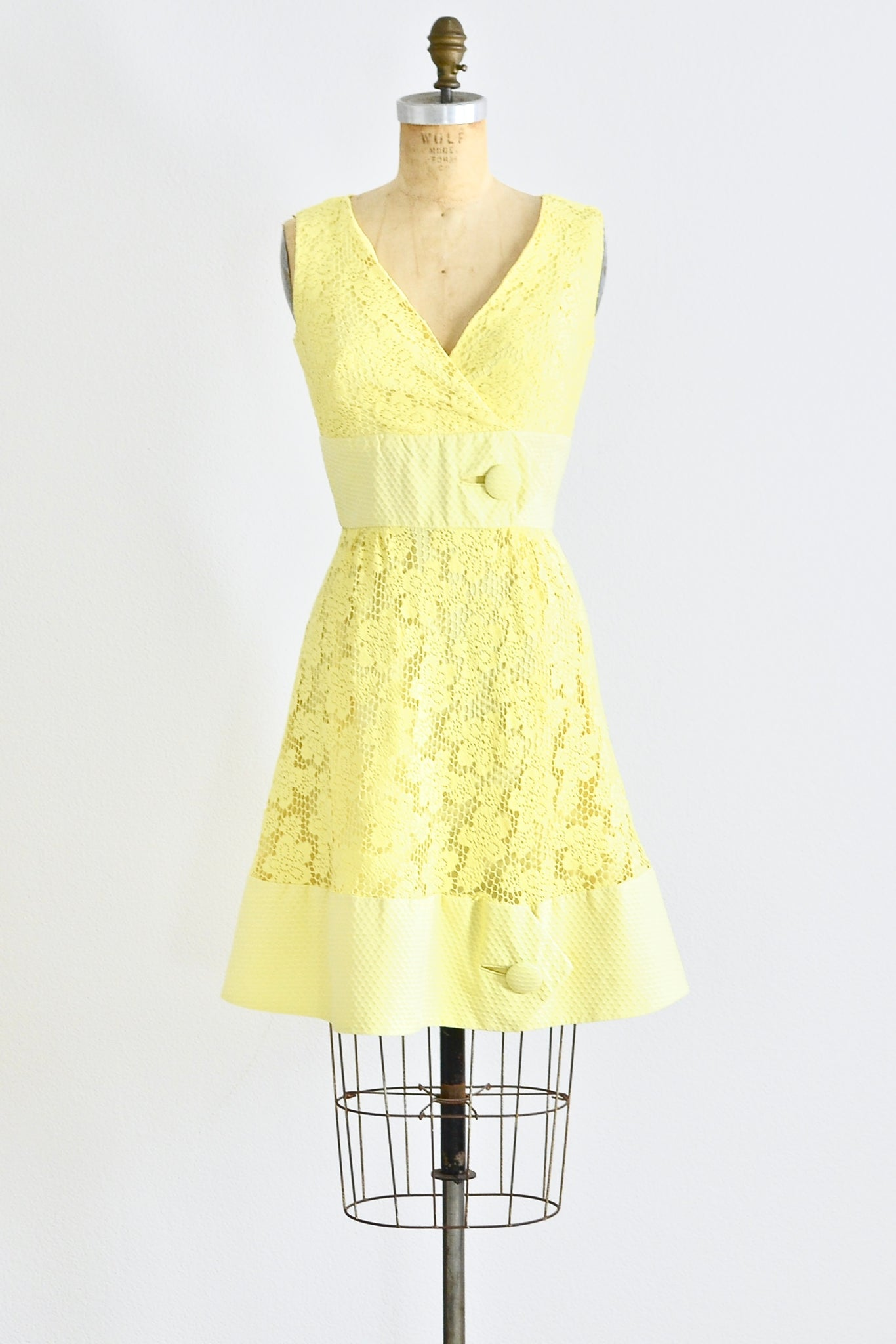 60s Yellow Lace Dress - Pickled Vintage