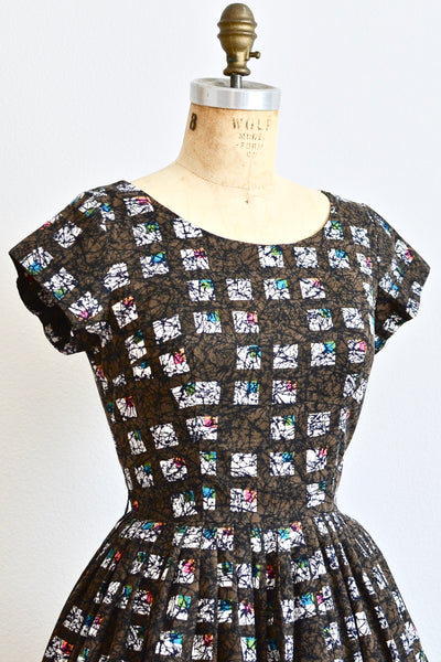 1950s Tile Print Dress - Pickled Vintage