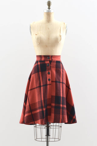 Red Black Plaid Skirt - Pickled Vintage