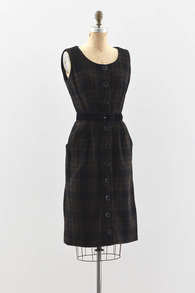Plaid Button Up Dress - Pickled Vintage