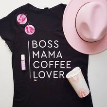 Load image into Gallery viewer, TLB BOSS MAMA COFFEE LOVER Black Tee