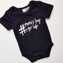 Load image into Gallery viewer, TLB #mamas boy for life Short Sleeve Onesie