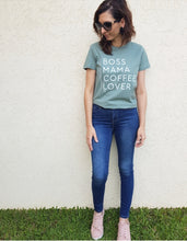 Load image into Gallery viewer, TLB Boss Mama Coffee Lover Tee Sage Green